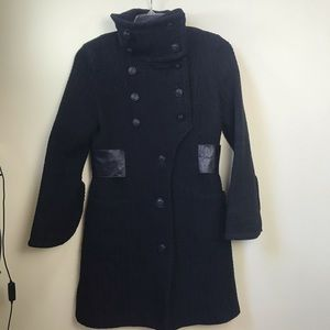 Mackage Wool Leather Fitted Coat Military Long Double Breasted Pea Coat M GUC